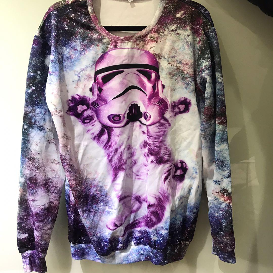 Cloudstyle funny cat and Stars Wars jumper - MENS 4XL