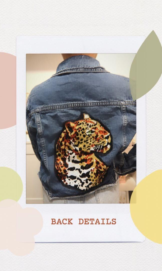 Denim Jacket with Sequined Tiger Back Detail SIZE SMALL