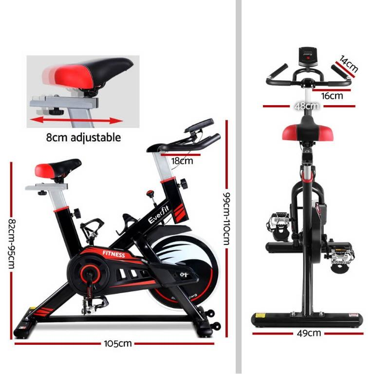 Everfit Spin Exercise Bike Fitness Commercial Home Workout Gym Equipment Black
