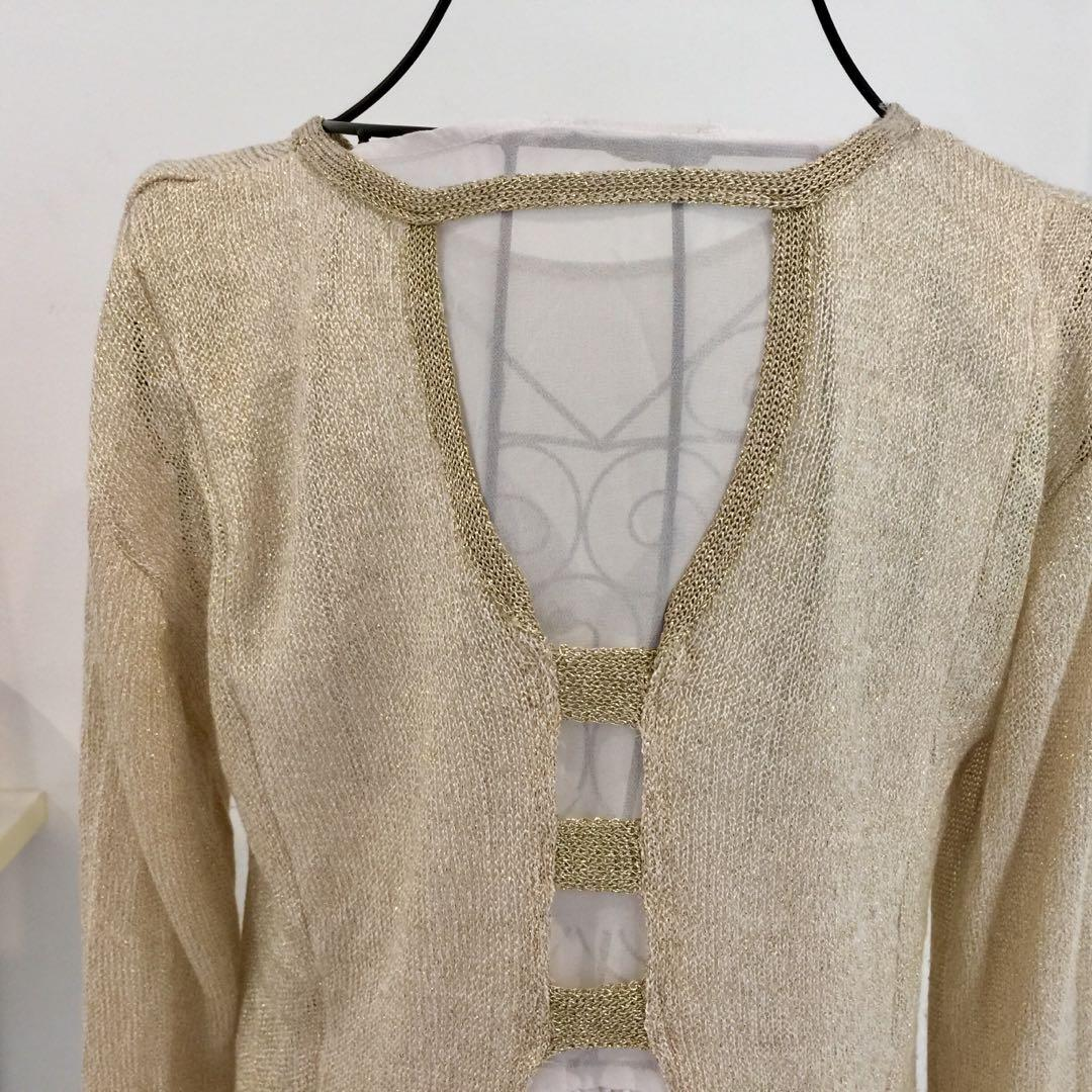 Exzotica size M/l gold pullover jumper with sheer back