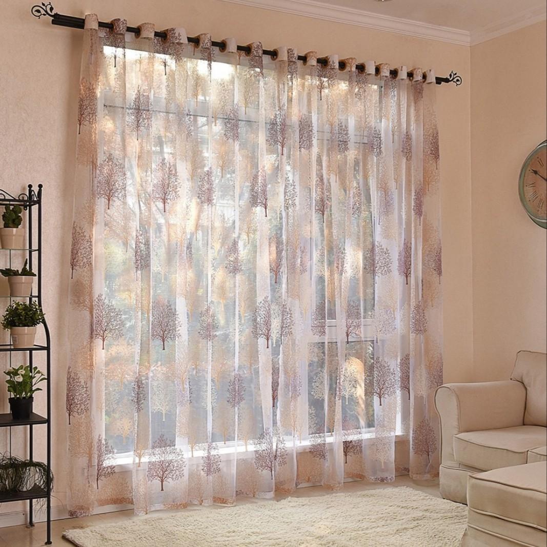 Door Window Sheer Polyester Material Curtain Home Bedroom Decor H83