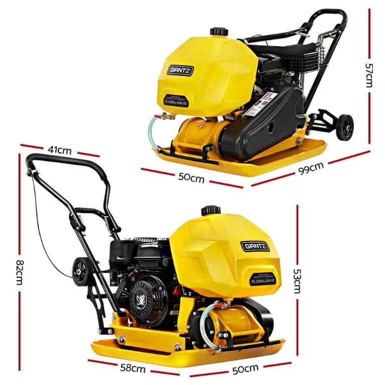 Giantz 23″ Plate Compactor 6.5HP Compactors 95KG Vibration Rammer with Wheels