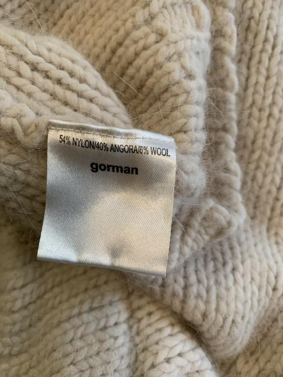 GORMAN Cream Chunky Knit Super Soft Angora Blend Cropped Relaxed Fit Jumper Sz M