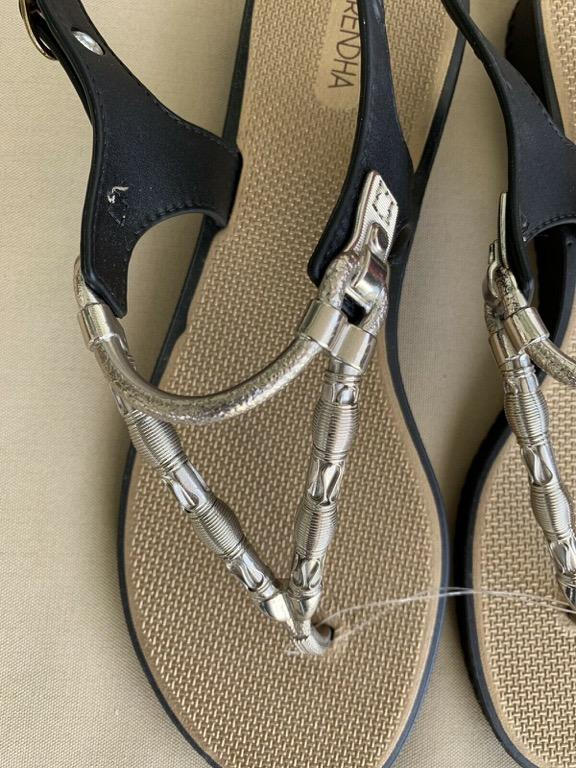 GRENDHA IPANEMA Silver Gold Black Thong Sandals Sz EU 40 AU 9