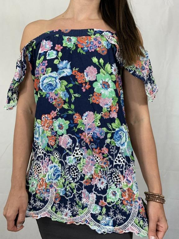 INDIKAH Blue Floral Embroidered Off Shoulder Top Size AU 10