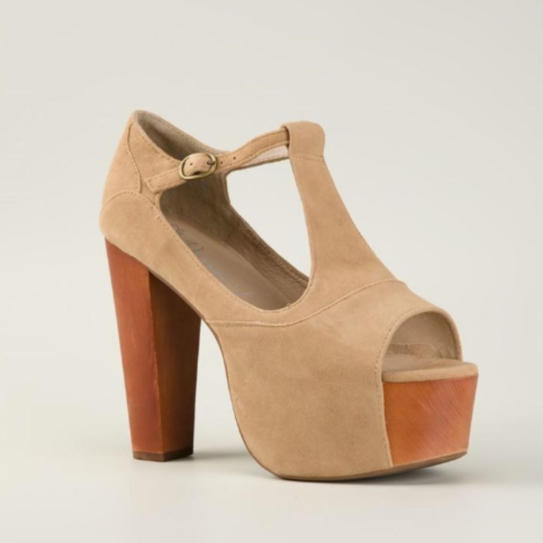 Jeffrey Campbell Foxy Wood Suede Nude Shoe Open Toe, size 8.5