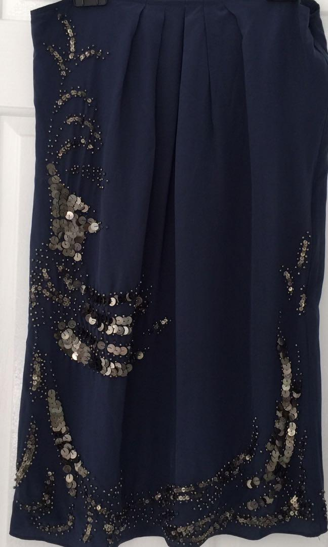 Kachel size 8 navy blue silk dress embellished short spaghettini straps