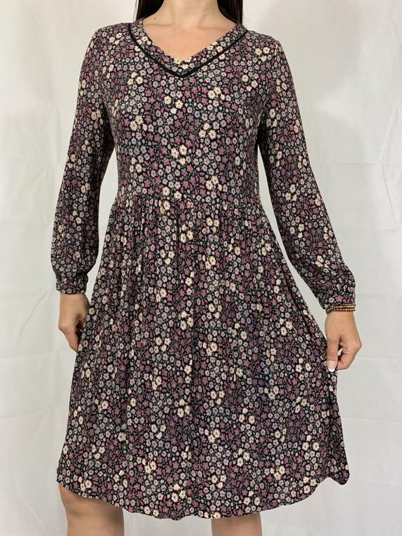 LAURA ASHLEY Black Pink Floral Print Long Sleeve A-line Midi Dress Sz AU 12