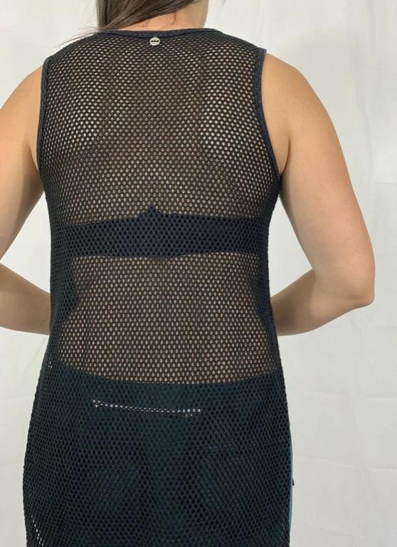 LORNA JANE Black Linen Mesh Back Activewear Workout Tank Top Sz AU 10