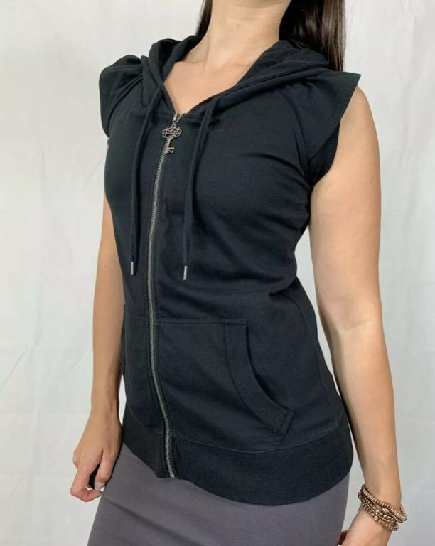 LORNA JANE Black Sleeveless Hooded Zipper Activewear Sweatshirt Vest Sz M AU 12