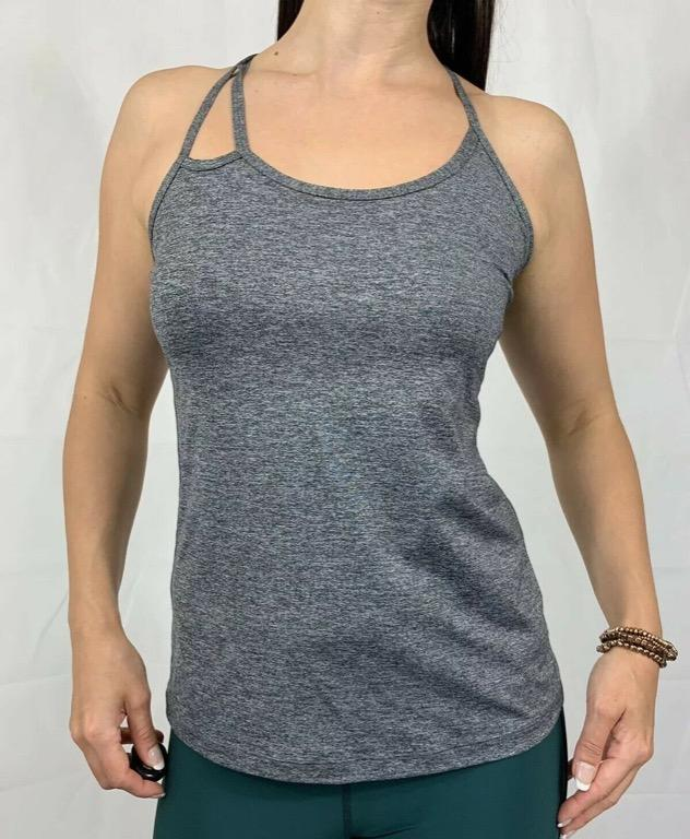 LORNA JANE Grey Marl Strappy Fitted Activewear Gym Workout Tank Top Sz AU 8-10