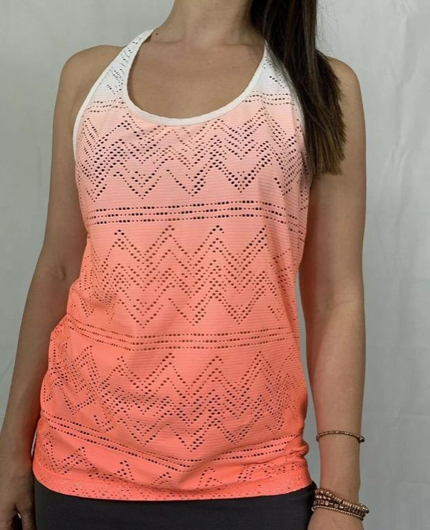 LORNA JANE Orange White Ombre Mesh Activewear Gym Workout Tank Top AU 10