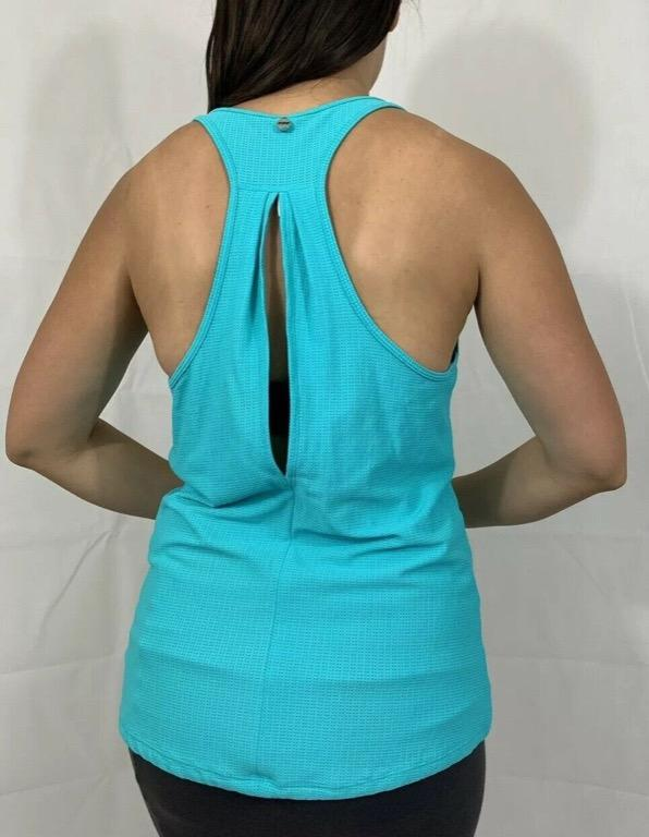 LORNA JANE Turquoise Blue Green Activewear Gym Workout Tank Top Sz L AU 14