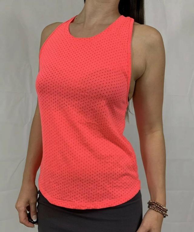 LORNA JANE Watermelon Orange Pink Activewear Gym Workout Tank Top Sz XS AU 8