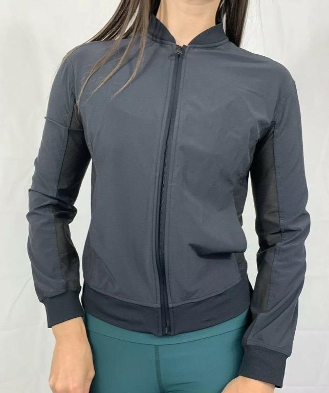 LULULEMON Black Mesh Insert Zip Up Activewear Workout Jacket Sz AU 10