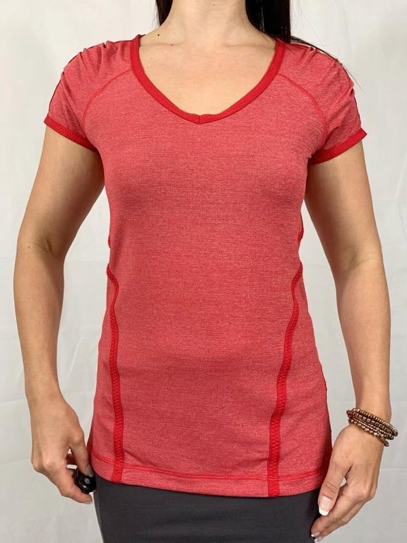 LULULEMON Red Stretch Cut Out Activewear Workout T-shirt Sz AU 12