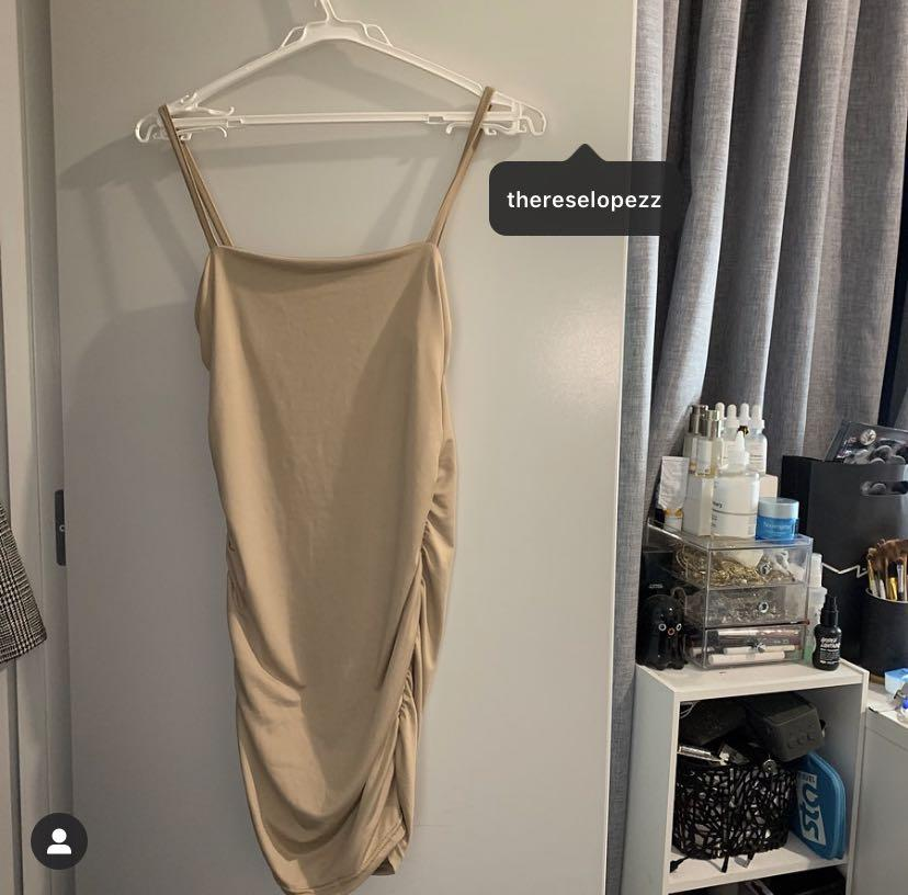 NEVER WORN - NUDE SLINKY BODYCON DRESS