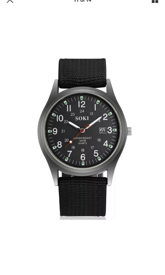 New Military Sport Mens Quartz Army Date Analog Luminous Canvas Strap Wrist Watch Free Postage