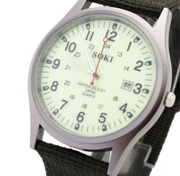 New Military Sport Mens Quartz Army Date Analog Luminous Canvas Strap Wrist Watch Free Postage