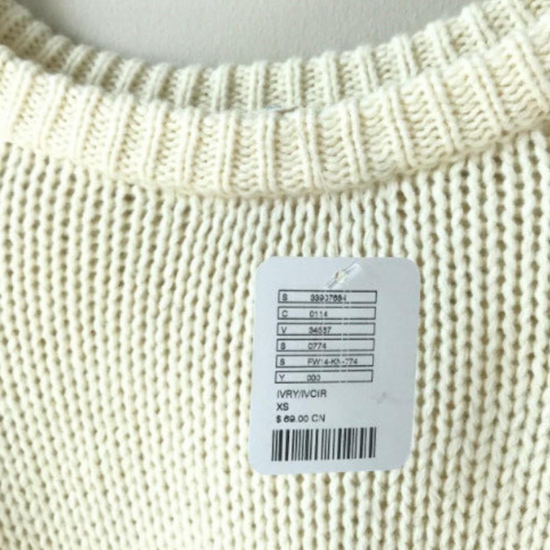 NEW Urban Outfitters Silence + Noise White Knit Crop Sweater - Small