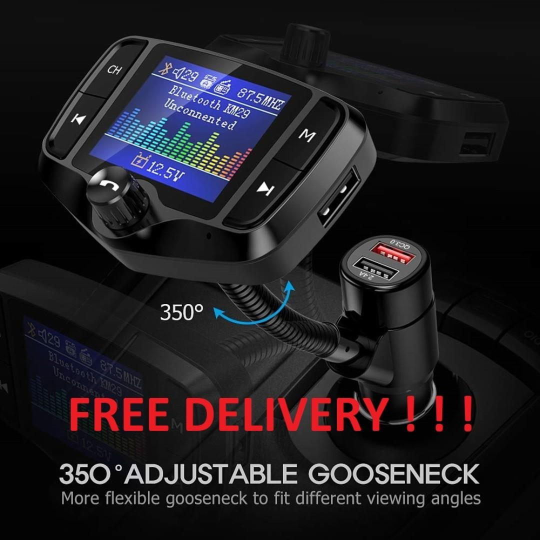 """KM29 Bluetooth FM Transmitter 1.8/"""" Color S... Nulaxy Upgraded Landscape Screen"""