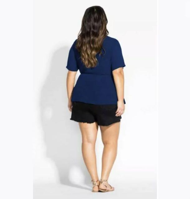 NWT City Chic Cross Over Front Top Blouse sz 16 18 S M blue Sapphire