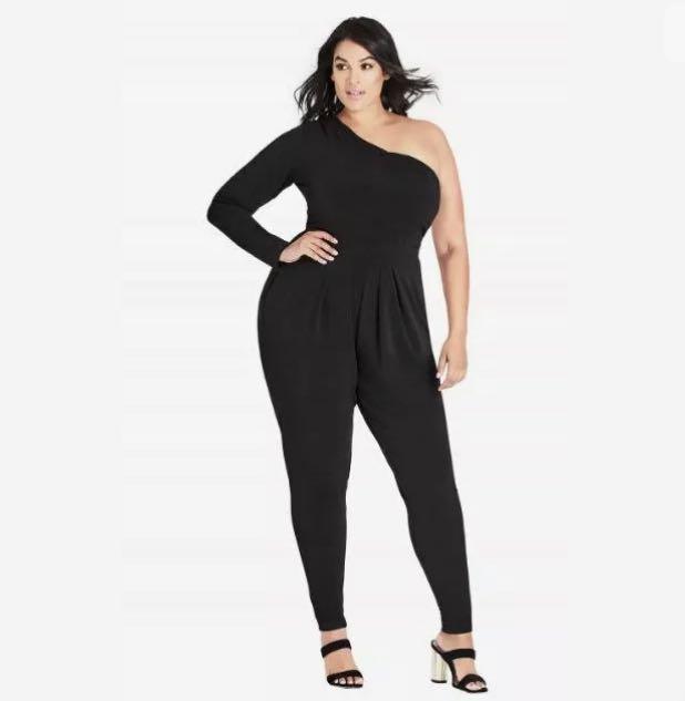 NWT City Chic One Sleeve Jumpsuit sz 20 22 Large XL Black