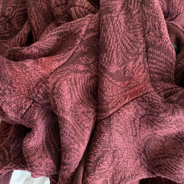 PERUVIAN CONNECTION Deep Red 100% Pima Cotton Print Cardigan Jacket Size XS AU 8