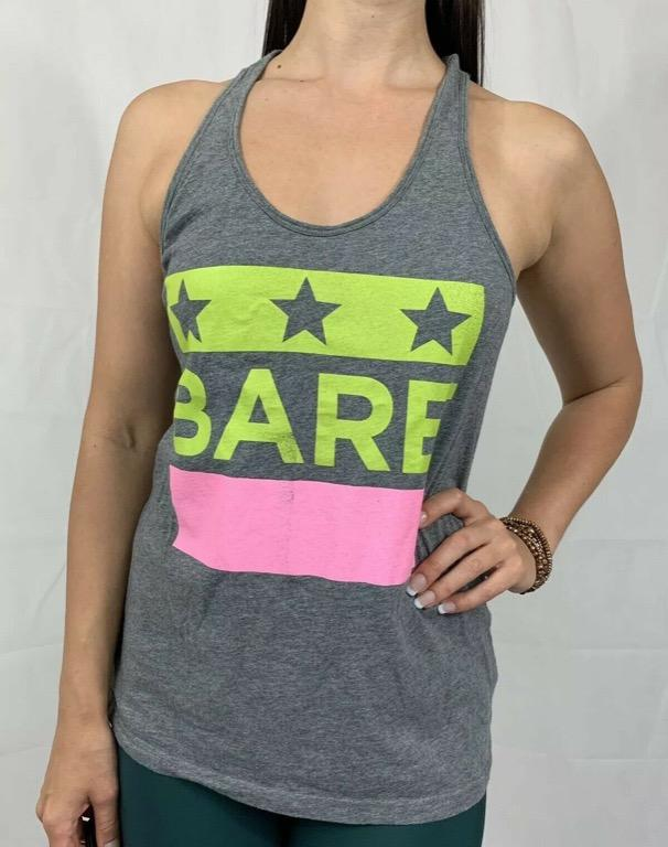 RUNNING BARE Grey 'Bare' Logo 100% Cotton Activewear Workout Tank Top Sz AU 10