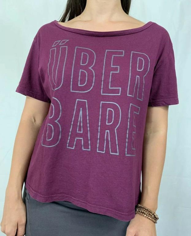 RUNNING BARE Maroon Red 'Uber Bare' Logo 100% Cotton Activewear T-shirt Sz AU 12