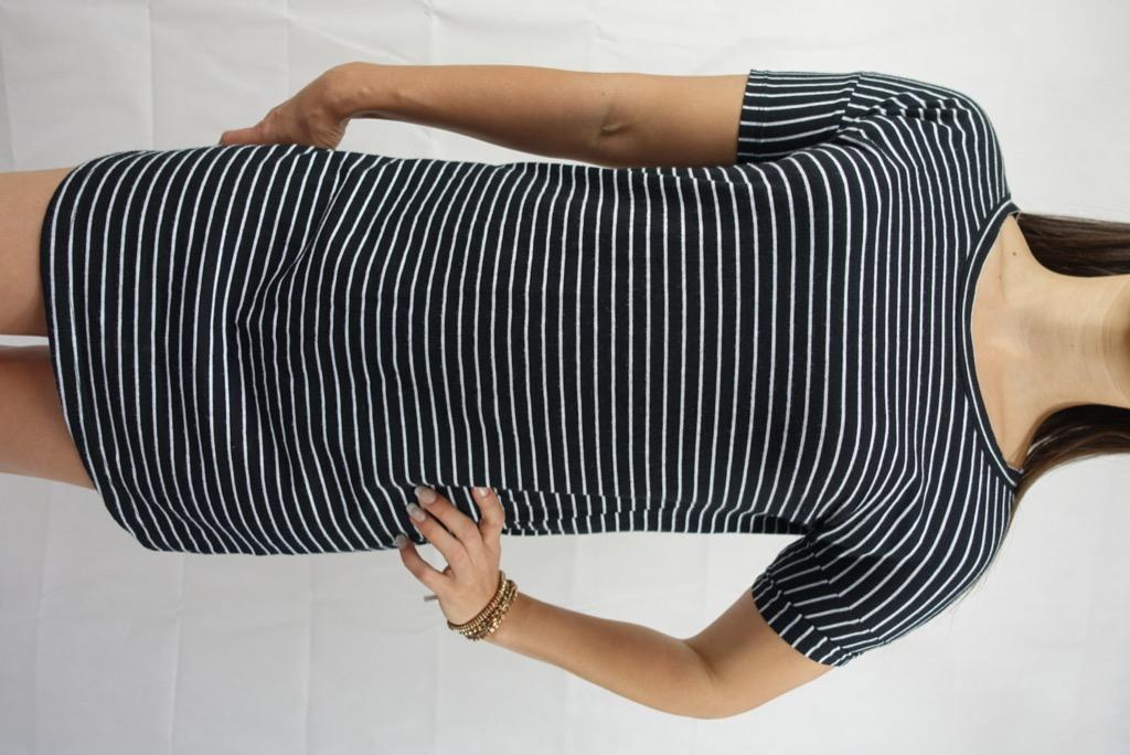 SEED HERITAGE Black White Striped Stretch T-Shirt Shift Dress Sz S AU 10