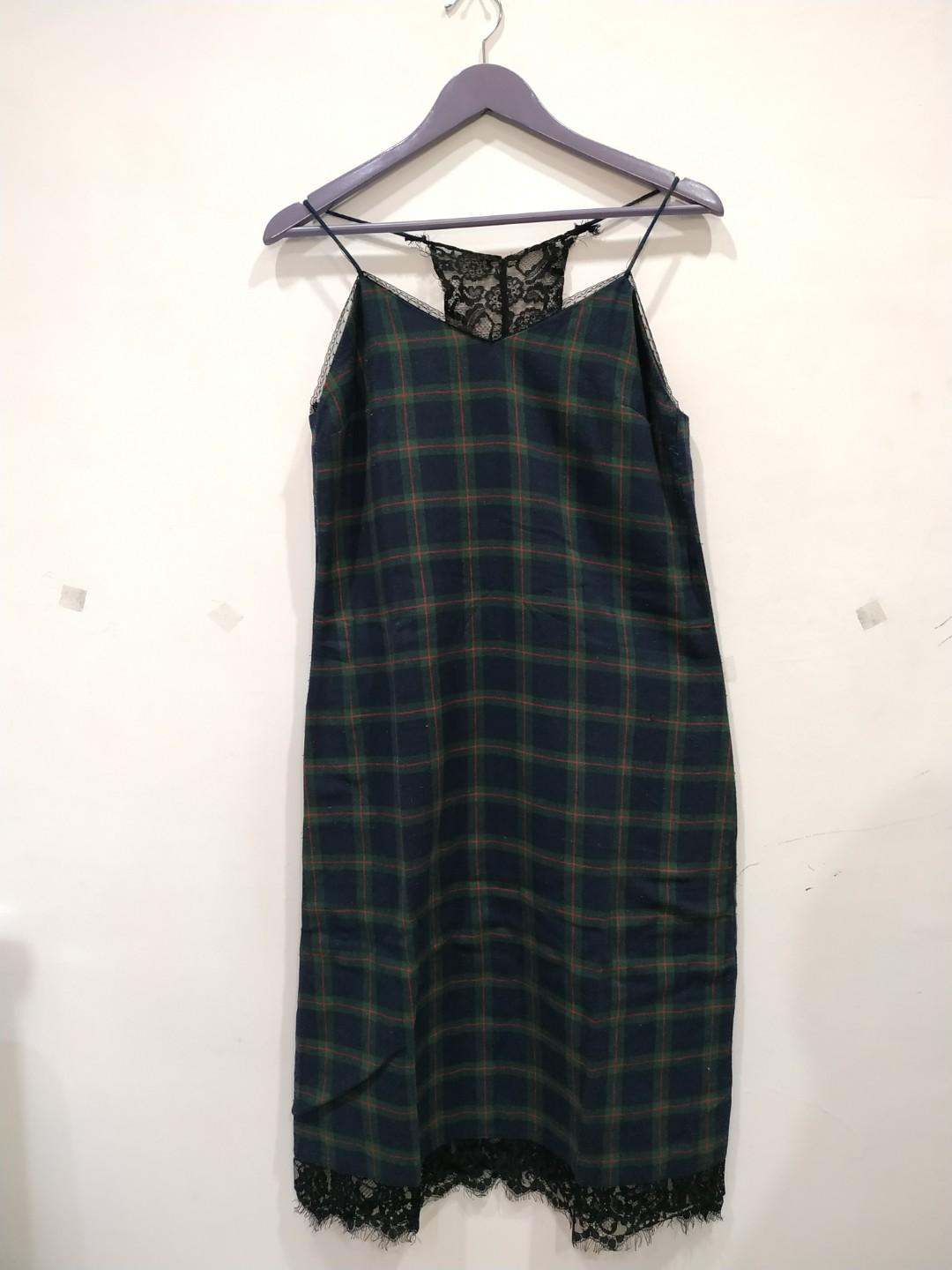 Tartan Midi dress with lace
