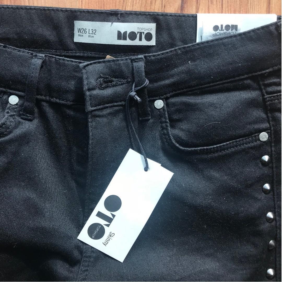 Topshop Moto Black skinny denim jeans stud detail size 26