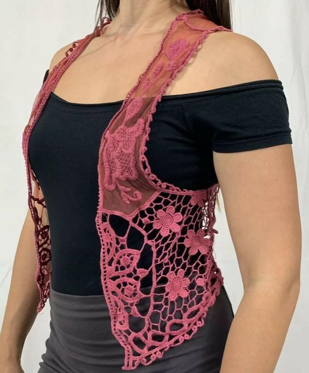 TREE OF LIFE Pink Net Crochet Sleeveless Cropped Vest One Size