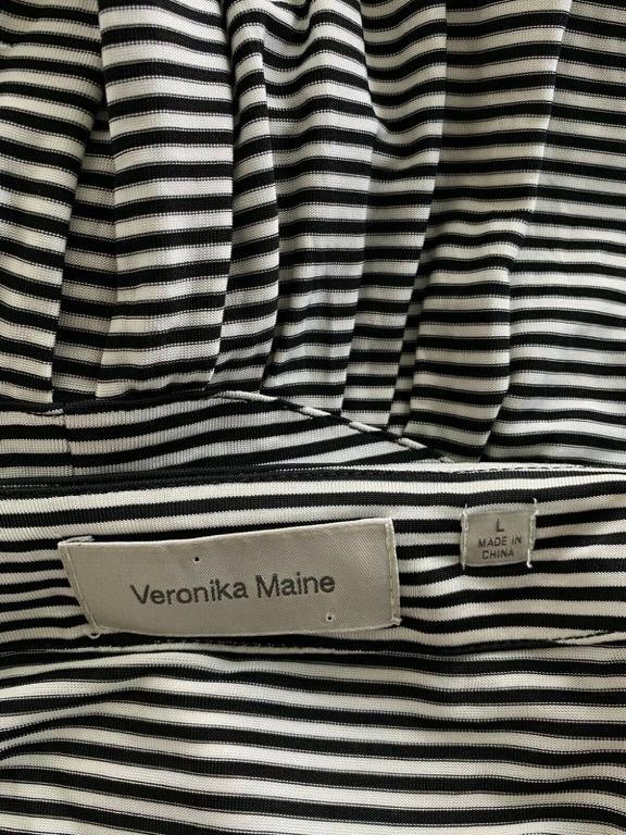 VERONIKA MAINE CUE Black White Striped Stretch Bow Top Blouse Sz L AU 12-14