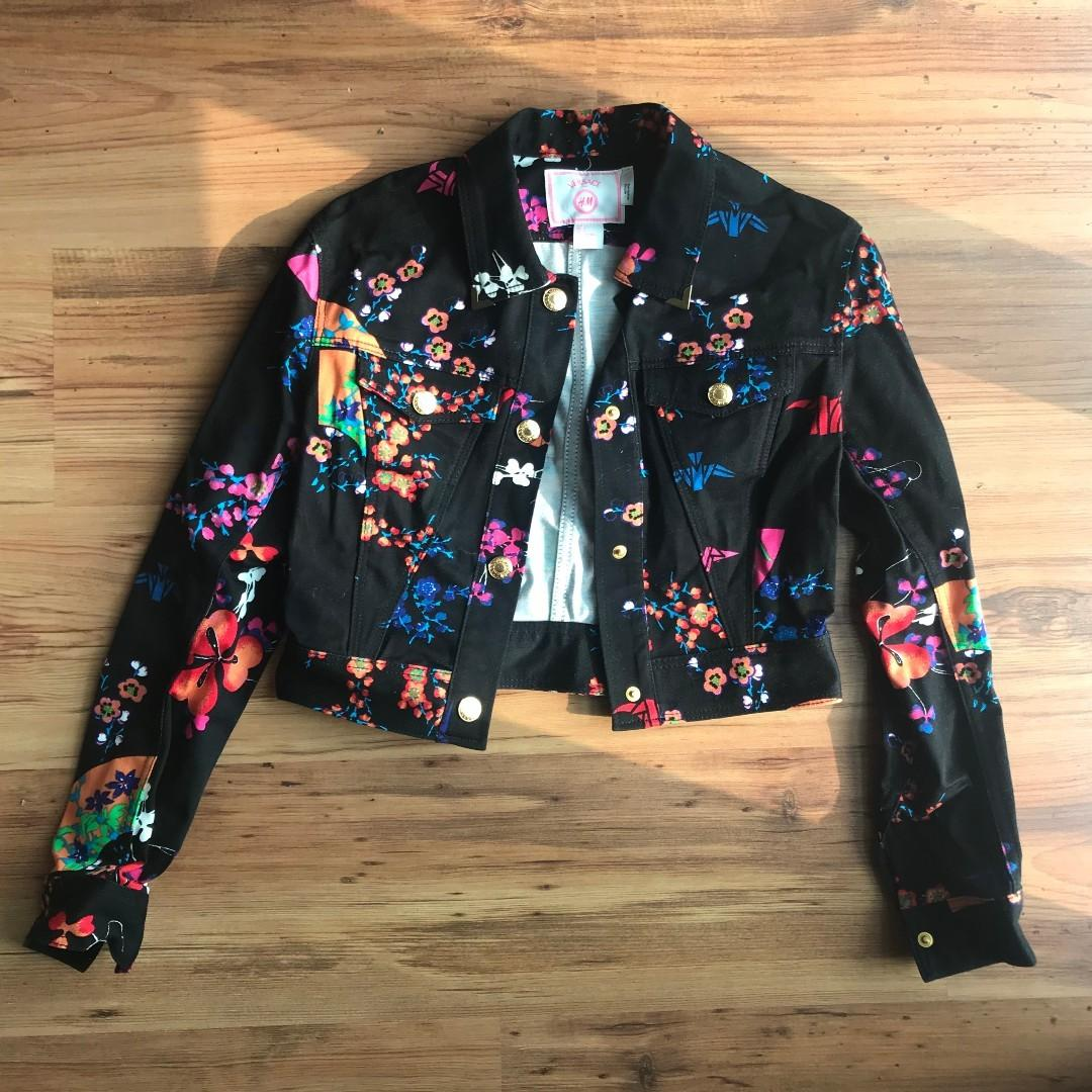 Versace x H&M Jacket, black and floral, Size 4- never been worn