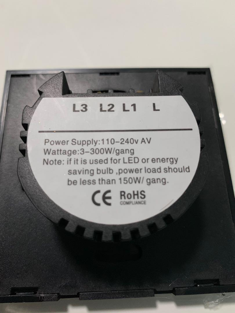 Wall Touch Switch with Remote Control - 1 Gang
