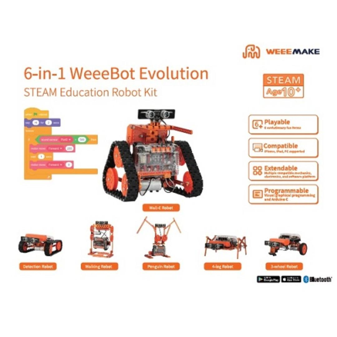Weeemake, 6-in-1, WeeeBot Evolution STEAM Robot Kit (90 Days Local Warranty)