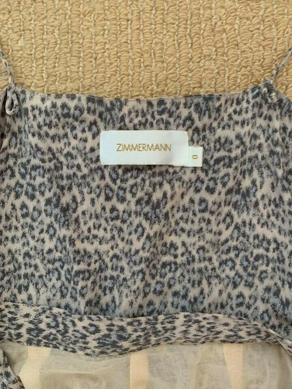 Zimmermann Silk Wrap Leopard Print Playsuit Size 0