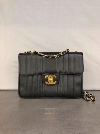 Chanel Vintage Vertical Stitch Jumbo Flap