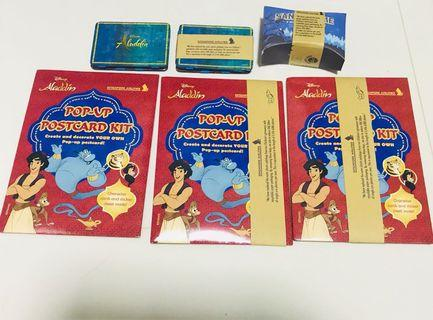Singapore Airlines SIA SQ Disney Aladdin Child Playing Cards and Postcard Kit