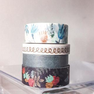 Washi Tapes Blue Aesthetic Floral Pattern Aesthetic Cheap Bullet Journal