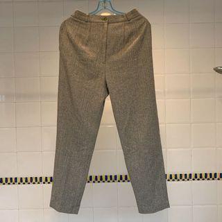 Beige Slim Fit Herringbone Tweed Trousers/Pants/Slacks