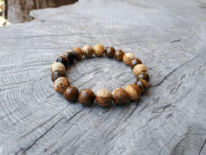Natural Tiger Eye Stone Mix Wooden Stone Beads Bracelet