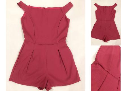 [ALL FOR RM15] Off-Shoulder Maroon Romper GOOD QUALITY