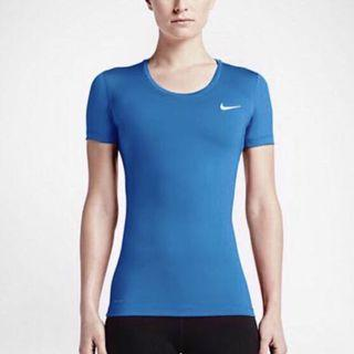 Nike Women Pro Cool Short Sleeve Shirt Top in Blue