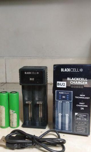 Vape Charger Blackcell Original (free baterai VTC 4 Ori)
