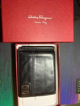Authentic Ferragamo Nero Black Leather Wallet with Money Clip