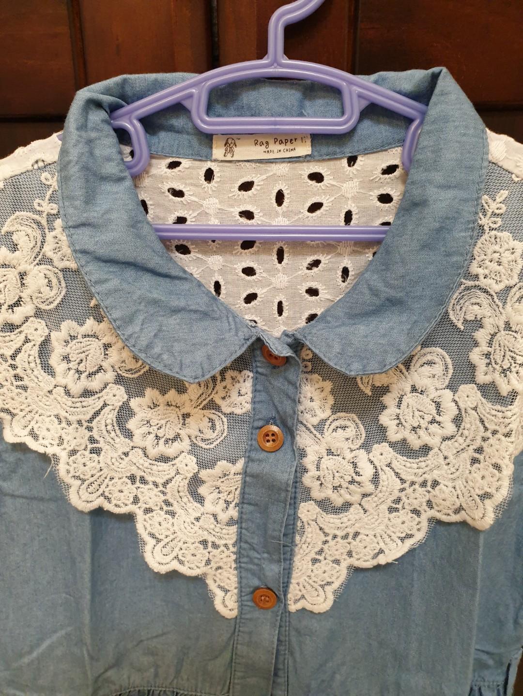 牛仔藍蕾絲洋裝(約120cm適穿)