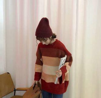 近全新!超軟好質量配色針織毛衣 可實拍! 紅色毛衣 條紋毛衣